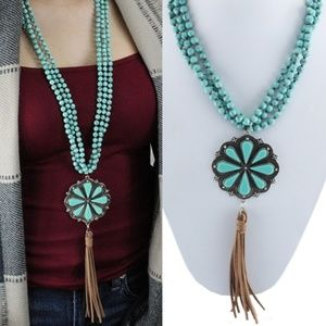 Jewelry - Turquoise Flower Statement Necklace